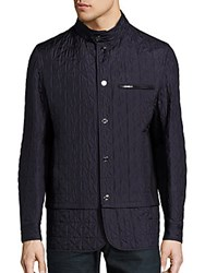 Brioni Quilted Leather Jacket Blue