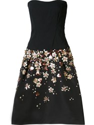 Monique Lhuillier Flounce Floral Skirt Dress Black