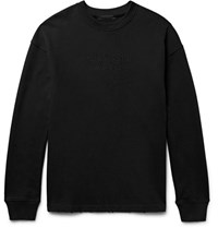 Alexander Wang Embroidered Distressed Loopback Cotton Jersey Sweatshirt Black