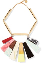 Stella Mccartney Gold Tone Resin And Faux Wood Necklace Metallic