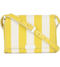 Karen Millen Striped Leather Satchel Yellow Multi