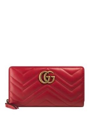 Gucci Gg Marmont Matelasse Leather Zip Around Wallet Red Black