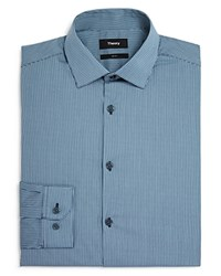Theory Arago Micro Gingham Slim Fit Dress Shirt Grey