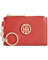 Tommy Hilfiger Lucky Charm Pebble Leather Id Coin Purse Tommy Red