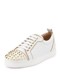 Rush Spiked Leather Low Top Sneaker White Gold Christian Louboutin