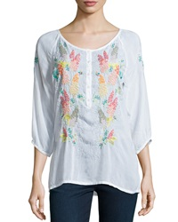Johnny Was 3 4 Sleeve Embroidered Blouse Women's