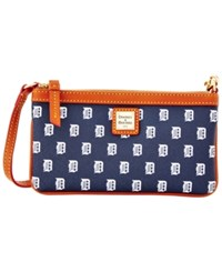 Dooney And Bourke Detroit Tigers Mlb Large Wristlet Navy