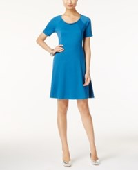 Ny Collection Petite Ponte Fit And Flare Dress Blue Sapphire