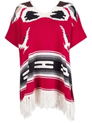 Nsf Fringed Poncho Red
