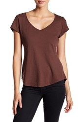 Michael Stars V Neck Ribbed Trim Tee Brown