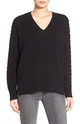 Women's 1.State Bubble Stitch V Neck Sweater Rich Black