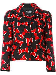 Boutique Moschino Bow Print Buttoned Jacket Black