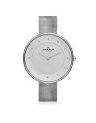 Skagen Gitte Stainless Steel Round Case W Mesh Strap Women's Watch Silver