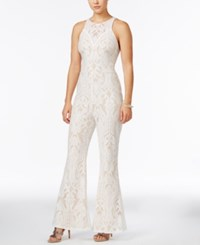 Material Girl Juniors' Lace Flare Leg Jumpsuit Only At Macy's White