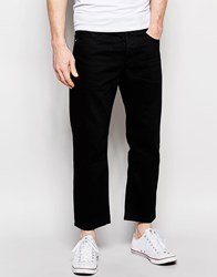 Asos Straight Jeans In Cropped Length Black