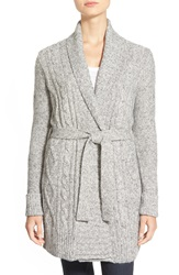 Nydj Belted Cable Knit Cardigan Regular And Petite Silver Marl