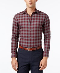 Bar Iii Men's Slim Fit Wine Oversize Gingham Wear Me Out Dress Shirt Only At Macy's