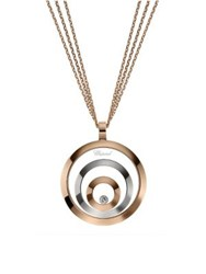 Chopard Happy Spirit Diamond 18K Rose And White Gold Triple Circle Pendant Necklace Rose Gold