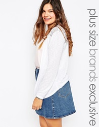 New Look Inspire Short Cardigan With Crochet Back White
