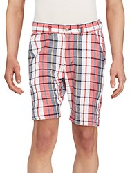 Vintage Check Cotton Shorts Red