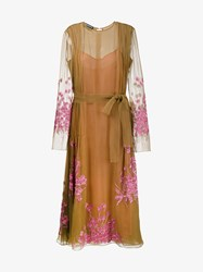 Rochas Sequin Embellished Silk Dress Brown Pink