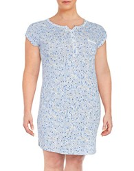 Miss Elaine Plus Patterned Nightgown Blue