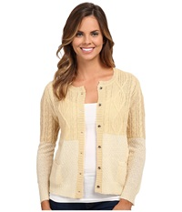 Woolrich Two Tone Cable Mohair Cardigan Pebble Women's Sweater Beige