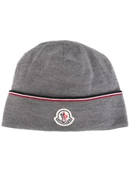 Moncler Contrasting Logo Beanie Grey