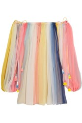 Chloe Off The Shoulder Striped Silk Crepon Mini Dress Bubblegum