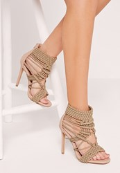 Missguided Origami Rope Heeled Sandals Nude Beige