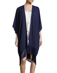 Vince Camuto Fringed Cover Up Caftan Blue