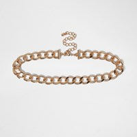 River Island Womens Gold Tone Curb Chain Choker