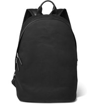 Paul Smith Leather Trimmed Cotton Canvas Backpack Black