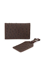 Kc Jagger Crocodile Embossed Faux Leather Passport Case And Luggage Tag Set Brown