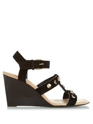 Balenciaga Stud Embellished Suede Wedge Sandals