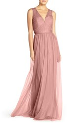 Women's Amsale 'Alyce' Illusion V Neck Pleat Tulle Gown Rose