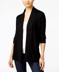 Jm Collection Petites Petite Open Front Ribbed Cardigan Only At Macy's Deep Black