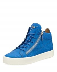Giuseppe Zanotti Men's Crocodile Embossed Leather Mid Top Sneaker Blue