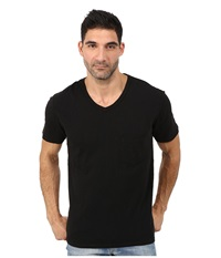 7 For All Mankind Short Sleeve Raw V Neck Black Men's Clothing