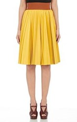 Marni Pleated Lambskin Skirt Yellow