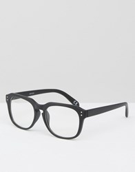Asos Sqaure Glasses In Rubberised Black With Clear Lens Black