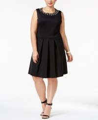 Charter Club Plus Size Pleated Fit And Flare Dress Only At Macy's Deep Black