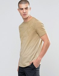 Celio Crew Neck Tshirt With Palm Tree Print And Dip Fade Detail Khaki Green