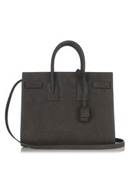 Saint Laurent Sac De Jour Small Crocodile Effect Nubuck Tote Grey