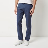 River Island Mens Blue Smart Slim Elastic Waist Trousers