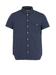 Realm And Empire Cotton Relaxed Fit Short Sleeve Shirt Navy