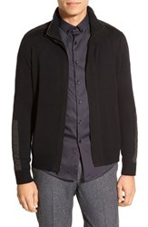 Men's Kenneth Cole Black Label Zip Front Sweater Jacket With Packable Hood