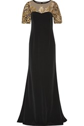 Mikael Aghal Embroidered Tulle Paneled Cady Gown Black