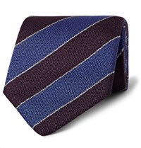 Dunhill 8Cm Striped Mulberry Silk Tie Dark Purple