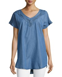 Neiman Marcus Braided Trim Chambray Short Sleeve Blouse Light Blue